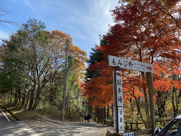 岩出山手打ちそばもみじ野のお店の外観と紅葉の写真
