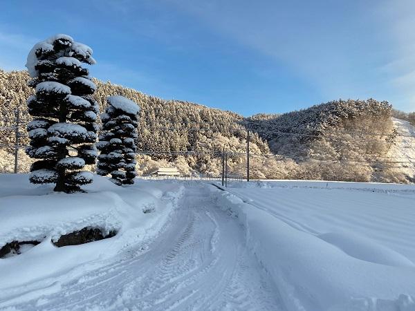 トラクターでの雪かきの風景写真